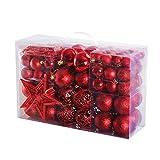 Yorbay Weihnachtskugeln Christbaumkugeln Set inklusive Perlenkette und Baumspitze (Rot)