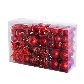 Yorbay – Bolas de Navidad Incluyendo la Cadena de perlasy la Estrella del árbol, Color Rojo