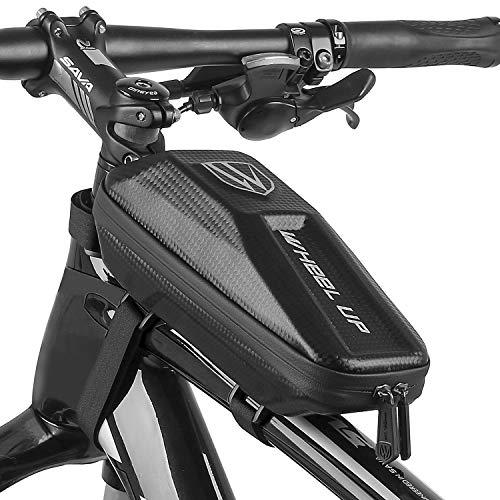 HEAWAA Fahrrad Rahmentasche (24 * 10 * 8) Wasserdichter Fahrradtasche Fahrrad Handyhalterung Eva Oberrohrtasche Handytasche mit Kopfhörerloch Reflektierend für Smartphone unter 6.5 Zoll (schwarz)