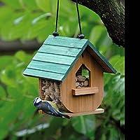 Casetta in legno per uccelli, per mangime