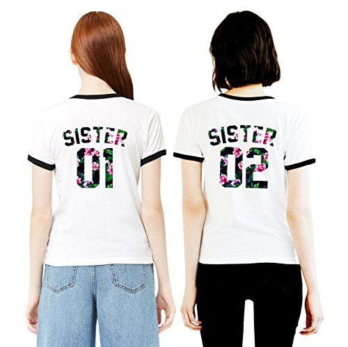 Best Friends T-Shirt mit Sister Aufdruck Zwei Damen Mädchen Sommer Weiß Oberteil Geburtstagsgeschenk 2 Stücke Partnerlook Kurzarm Tops (Black Ringer - Frühling Blume, Sister 01-S + Sister 02-S) - Zeit Ringer T-shirt