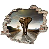 Sticker mural effet 3D « éléphant » autocollant - Sticker mural autocollant - Sticker mural autocollant - Pierre - Sticker mural - Tatouage, 60x50 cm