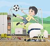 Bilderdepot24 Selbstklebende Fototapete - Kinderbild - Kicker Cartoon - Pastell - 150x100 cm - Poster – Dekoration – Wandbild – Wandposter – Wand - Wanddeko