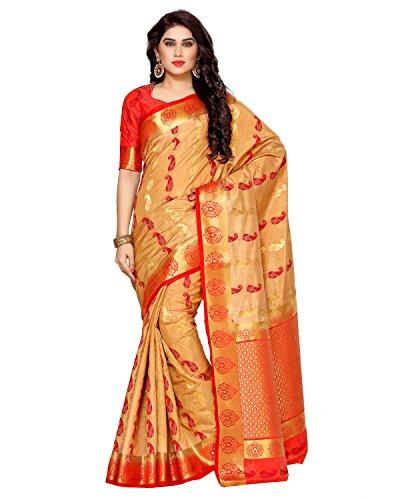 Mimosa By Kupinda Women's Tussar Silk Saree Kanjivaram Style (Latest Designer Sarees /Party wear sarees /New collection sarees) (4129-251-2D-CKU-RD) Color
