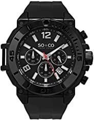 So&Co New York Yacht Timer Men's Black Dial Silicone Band Watch - 5231.2, Analog