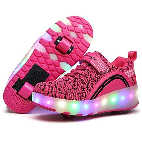 Homesave Unisex-Kinder Mode LED Rollschuh Schuhe LED Lichter Blinken Einstellbare Räder Technologie Skateboardschuhe Gymnastik Running Turnschuhe für Jungen Mädchen,PinkDouble,37EU