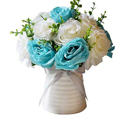Künstliche Kirsche Frühling Pflaume Pfirsichblüte Zweig Seide Blume Baum Wohnkultur Wohnzimmer Dekoration Keramik Vase Dekoration ( Color : Blue )