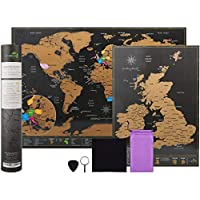 Scratchable mappa del mondo viaggio di formato A3 (42 x 29.7 cm) + bonus A4 UK Map – Kit con accessori e Gift Tube – Deluxe Cartografici design by Atlas & verde