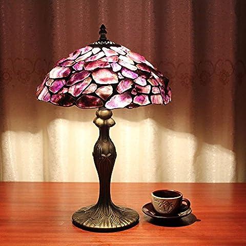 Carl Artbay 12-Inch Vintage Pastoral Purple Dream Tiffany Table Lamp Bedroom Lamp Bedside Lamp
