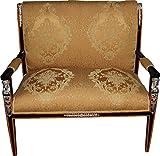 Casa Padrino Barock Empire Salon 4-er Set Gold Muster / Schwarz / Mahagoni / Silber – Sitzbank + 2 Sessel + Couchtisch - 5