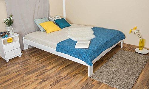 Futonbett / Massivholzbett Kiefer Vollholz massiv weiß lackiert A10, inkl. Lattenrost - Abmessung 160 x 200 cm