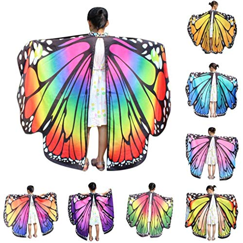 TIFIY Child/Kids/Boys/Girls Halloween Cute New Look Beautiful Beach Towel Cape Fairy Nymph Pixie Carnival Party Club Show Dance Costume Accessory, Butterfly Wings Shawl Scarves Capes Cloak Poncho