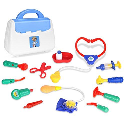 Zooawa Doktor-Sets täuschen Spiel, Arzt und Krankenschwester vor Rollen-Spiel-Spielzeug mit handlicher Tragetasche für Jungen und Mädchen, Kinder und Kleinkinder über 3 Jahre alt, - Fischer Kostüm Für Kleinkind