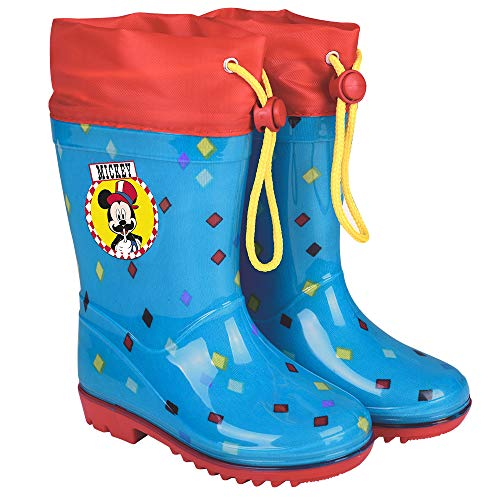 PERLETTI Disney Mickey Mouse Rain Boots Kids - Boys Waterproof Wellies Shoes with Anti Slip Outsole - Light Blue and Red Details with Mouse Print