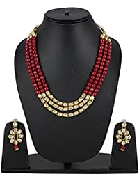 Aradhya Designer Party Wear Maroon Stone Kundan Necklace Set With Earrings For Women / Girls