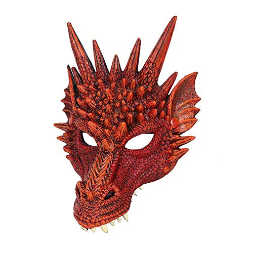 Fishyu Halloween Maske 3D Drache Cosplay Kostüm für Männer Frauen Karneval Party Mardi Gras (Mardi Gra Kostüm Männer)