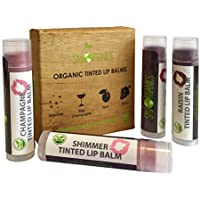 Bálsamo labial Sky Organics con tonos orgánicos, 4 colores, con cera de abeja, aceite de coco, manteca de cacao, Vitamina E, menta, ciruela, para hidratante para labios agrietados Hecho en EE.UU.