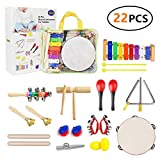 Yetech 22 Pcs Toddler Musical Instruments Set Percussion Instrument Toys Toddler Musical Toys Set Rhythm Band Set Birthday Gift for Toddlers Kids Preschool Children with Storage Bag