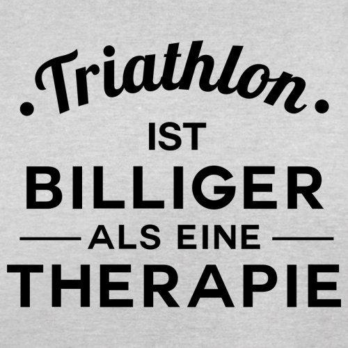 Triathlon ist billiger als eine Therapie - Herren T-Shirt - 13 Farben Hellgrau