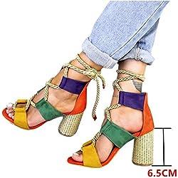 Sandalias Mujer Verano 2019 Tacon Alto 6.5CM Sandalias Romanas Cuerda De Cáñamo Zapatos Gladiador Punta Abierta Sexy Azul Negro Rosa Naranja Lunares EU 35-43 Naranja 42