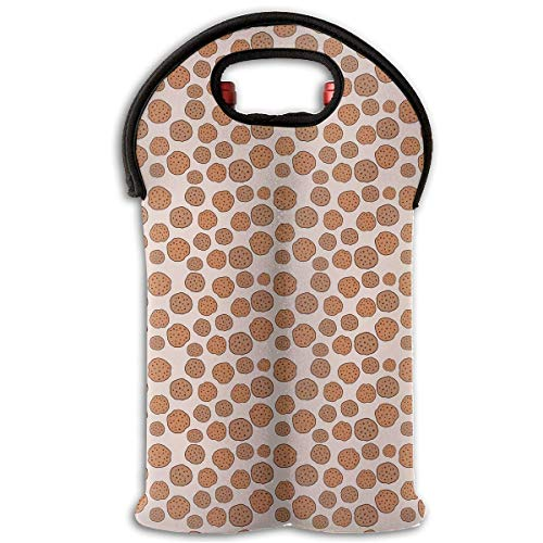 Cute Cookies Pattern Two Bottle Wine Carrier Tote Bag Neoprene Wine/Water Bottle Holder Keeps Bottles Protected New5