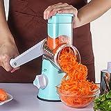 housesweet Gemüsehobel Mandoline Slicer Gemüse Obst Cutter Drehbar Drum Käsereibe Kartoffel Allesschneider Tomate Mandoline Chopper Blau