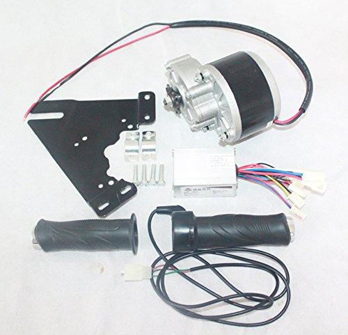 L-faster 24V36V 350W Elektro-DC-Motor + Controller + Gas elektrisches Fahrrad Brushed Motor Umbausatz elektrischer Roller-Motor-Kit (36V kit with plate) (Gas Motor Kit Für Fahrrad)