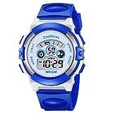 Souarts Junge Mädchen Armbanduhr Digital Display Sport Uhr LED Wecker Kalender Stoppuhr Wasserdichte uhr Blau