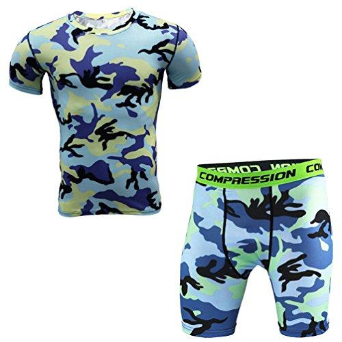 YiJee Herren Kurzarm Kompressionsshirt und Base Layer Pants Set Quick-Dry M (Kompressionskleidung Körper)