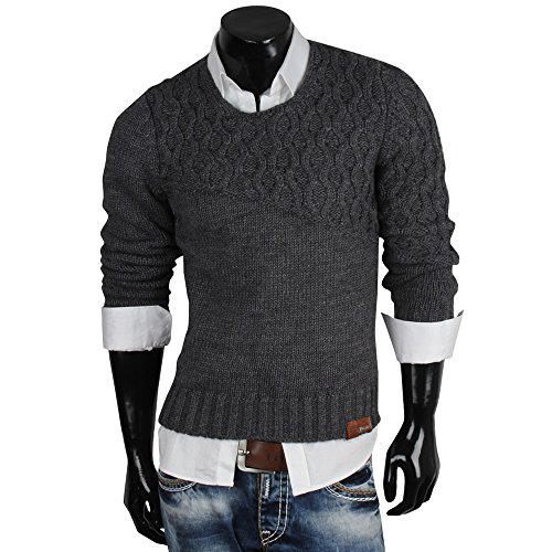 TAZZIO pull-over en tricot pour homme taille s à xXL Gris - Anthracite