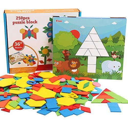 ZMH 250Pcs Variety Puzzle Tangram, Kinder Und Jugend Intelligenz Entwicklung DIY Puzzle Holz-Pädagogisches Spielzeug Kleinkind Spiel