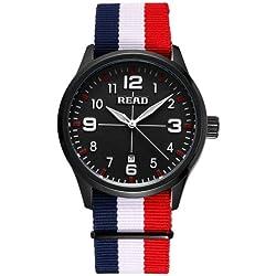 Read 5258Fashionable 3ATM Waterproof Quartz Wrist Uhr mit Stripes Nylon Band & Luminous Display & Calendar Function für Herren (Black Window Blue White Red Strap)