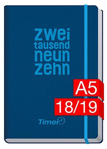 Chäff-Timer Premium A5 Kalender 2018/2019 [KL Blau] 18 Monate Juli 2018-Dezember 2019 - Gummiband, Einstecktasche - Terminkalender mit Wochenplaner - Organizer - Wochenkalender