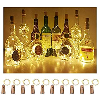 ANYOYO Wine Bottle Lights with Cork Cork Lights for Bottle 20 Led Bulbs String Lights Battery Operated Fairy Lights for Christmas, Halloween, Weeding, Party(Warm White) - 10 Pack …