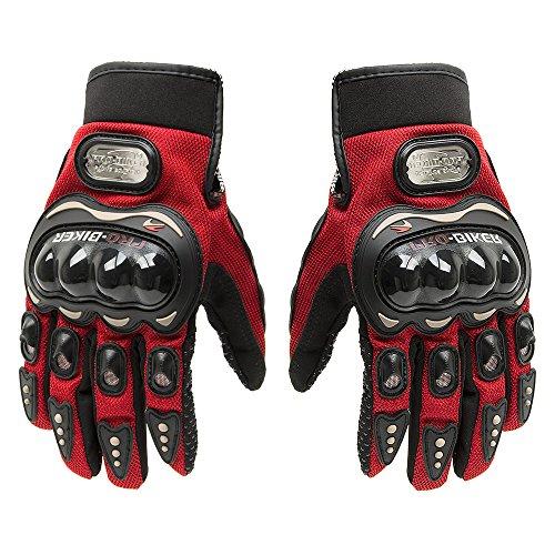 Fortag Motorradhandschuhe kurze Sport Leder Sommer Winter Vollfinger Handschuhe Blau Rot Schwarz M-XXL (M, Rot)
