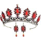 FUMUD Vintage Jewelry Sets Hair Tiara Pendant Earring Wedding Bridal Poem Crown Earring Set (Red)