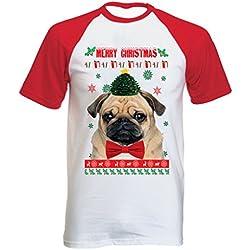 Teesquare1st MERRY CHRISTMAS PUG FACE Tshirt con manga corta roja T-shirt Size XLarge