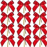 Sumind 48 Pezzi Fiocco di Natale Rosso Nastro Fiocco Albero di Natale, Ghirlanda di Natale, Decorazione (4.25 x 3.75 Pollici)