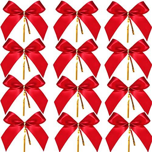 Sumind 48 Piezas Lazo Navidad Rojo Lazo Cinta Árbol