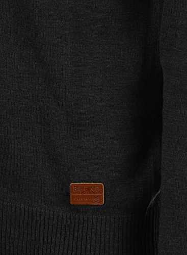 BLEND Lennard Herren Cardigan Strickjacke V-Ausschnitt Black (70155)