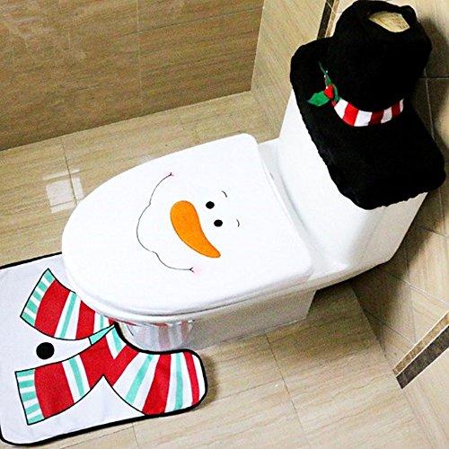 Delmkin Weihnachtsdeko Weihnachten WC Toillete Dekoration Weihnachtsmann Toilettenvorleger-Set (Schneemann)