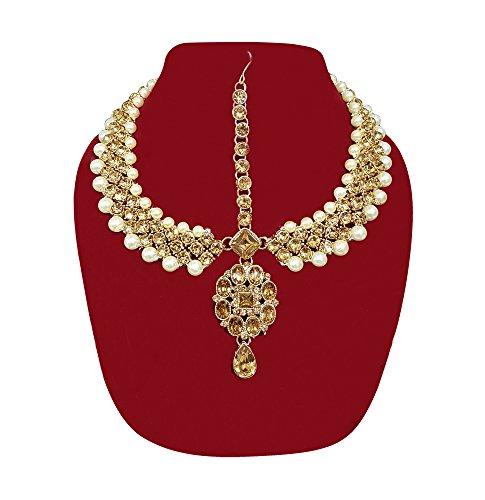 Kabello Bridal Matha Patti Golden Finish Drop Shape Designer For Women & Girls - Pack Of 1 (35 Grams)