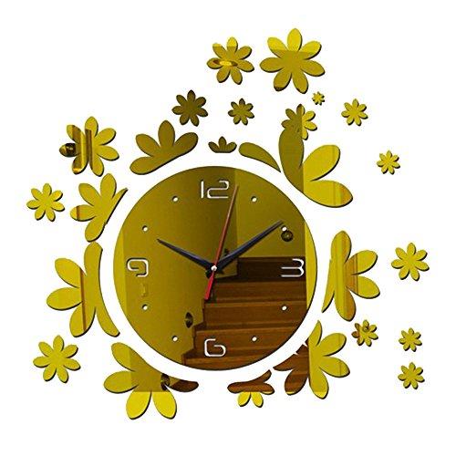 DIY Espejo Reloj de pared acrílico pega creativo color oro