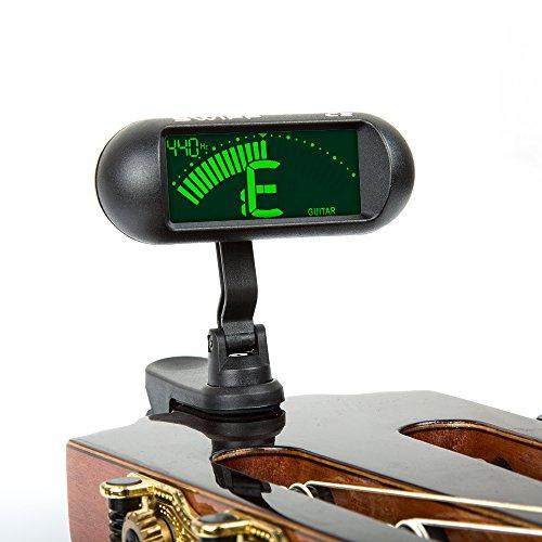 SWIFF Professionelles Stimmgerät/Tuner für Gitarre, Bass Ukulele und Violine mit großem Display