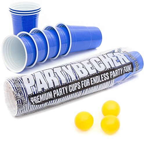 Goods & Gadgets Blue Party Becher ★16 oz★ Blaue Partybecher Beer Pong Cups Einwegbecher Trinkbecher (50 Stück)