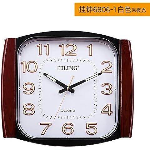 Soggiorno grande parete decorativa orologi Ultra-Quiet luminosi grafici per parete Office orologi, Square European-Style semplice orologio al quarzo,14 pollici,Andy Ling Orologio da parete 6806-1 quadrante bianco