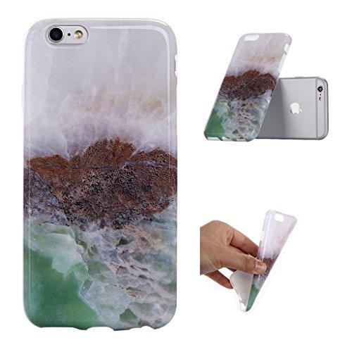 """iPhone 6 6S Coque , YIGA Motif Marbre Naturel Noir Premium Souple Silicone TPU case Etui Protection Housse pour Apple iPhone 6 6S 4.7"""" A-5G-KM11"""