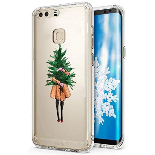 Surakey Huawei P9 Plus Cover Natale, Silicone Morbido Custodia Trasparente Disegni Nuove Serie Natalizie Ultra Sottile Chiaro Gomma Protettiva Skin Cover per Huawei P9 Plus,Albero di Natale Ragazza