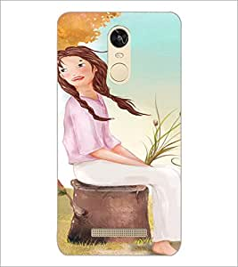 PrintDhaba Sitting Girl D-2658 Back Case Cover for XIAOMI REDMI NOTE 3 (MEDIATEK) (Multi-Coloured)