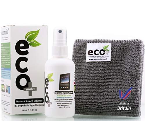 Ecomoist Bildschirmreiniger, Naturprodukt ohne Chemikalien, 100ml, inkl. Mikrofasertuch